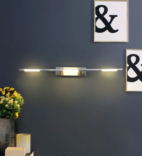 White and Silver Metal and Acrylic Wall Light by Jainsons Emporio