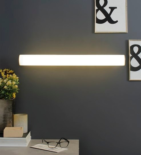 White and Silver Metal and Glass Wall Light by Jainsons Emporio