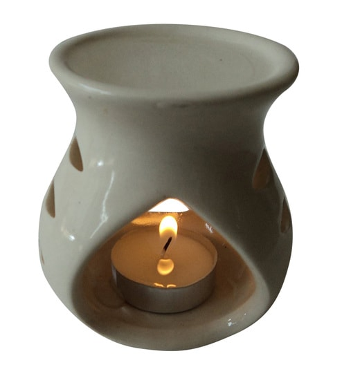 Buy White Ceramic Amp Wax Aroma Candle Diffuser Oil By