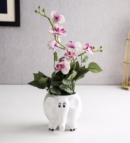 White Ceramic Elephant Table Top Planter By Unravel India