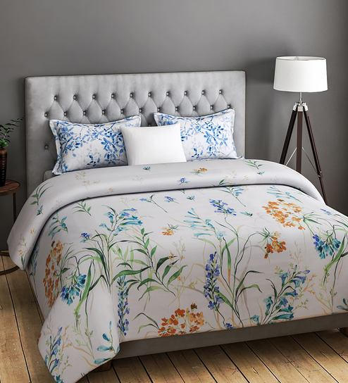 FASHION Floral Pattern 200TC Cotton King Size Bed Sheet With 2 Pillow  Covers By Rago