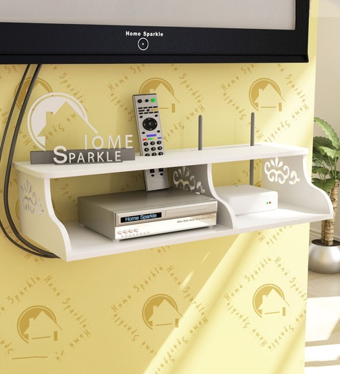 Wall Mountable Set-Top Box cum Wi-Fi Router Holder in White Finish by Home  Sparkle