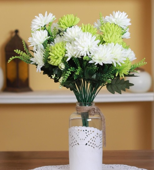 Buy White Fabric Plastic Artificial Chrysanthemum Flower Bunch By