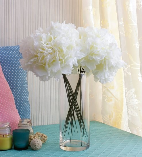 Pepperfry & White Fabric Hydrangea Artificial Flower By Fourwalls - Set Of 2