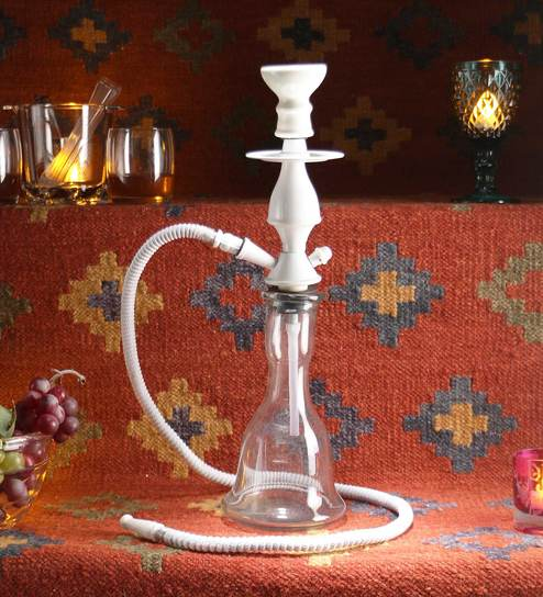 White Glass New Arrival Premium Long Base 15 Inch Hookah By Jaipurcrafts
