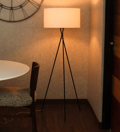 White Handloom Fabric with acrylic sheet Tripod Lamp by Craftter