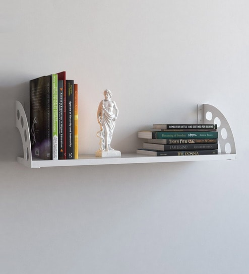 Buy Decorative Wall Shelf with Iron Frame in White Colour by Qesyas ...