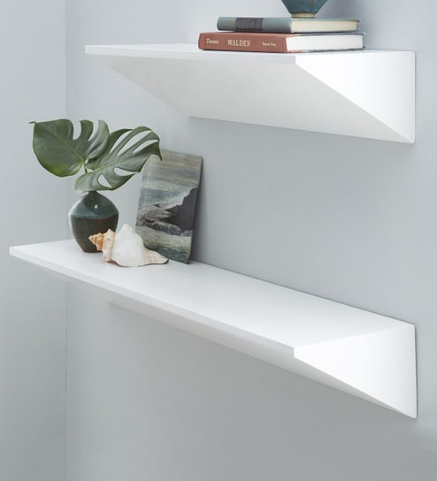Wondrous Floating Shelf Set Of 2 In White Finish By Qesyas Best Image Libraries Barepthycampuscom