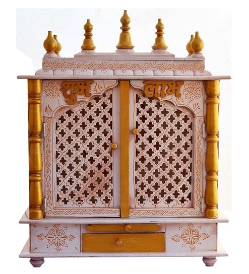 Buy Solid Wood Hand Made Pooja Mandir In White Finish By