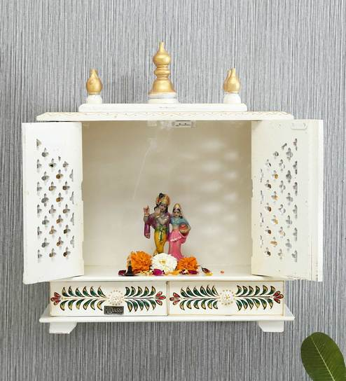 White Sheesham Wood Mandir by D'DASS