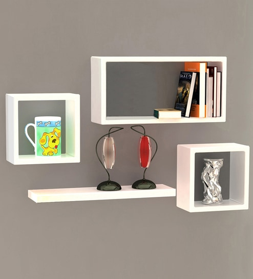 Buy Boxy Modular Wall Shelf Set Of 4 In White Finish By Home