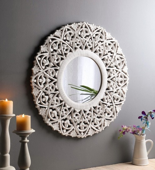 Buy Solid Wood Round Wall Mirror In White Colour By The Urban Store Online Round Mirrors Wall Accents Home Decor Pepperfry Product