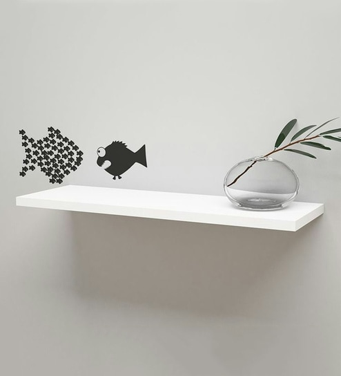 Superb Floating Shelf In White Finish By Qesyas Best Image Libraries Barepthycampuscom