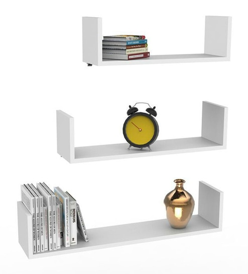 Floating Shelf (Set of 3) in White Finish by Qesyas