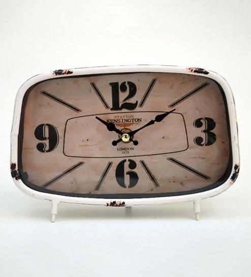 White Metal U0026 Glass Table Clock By Tu Casa