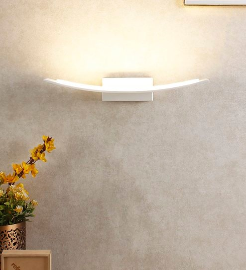 White Metal And Gl Wall Light By Jainsons Emporio Online Upward Lights Lamps Lighting Pepperfry Product