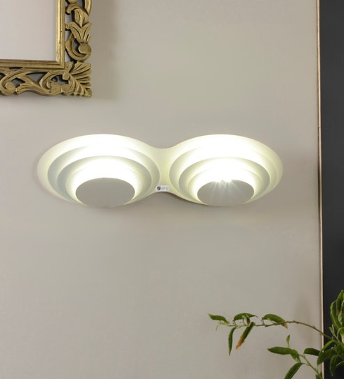 White Metal 2-Light Round Concentric Wall Light by Jainsons Emporio