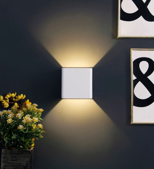 White Metal and Acrylic Wall Light by Jainsons Emporio