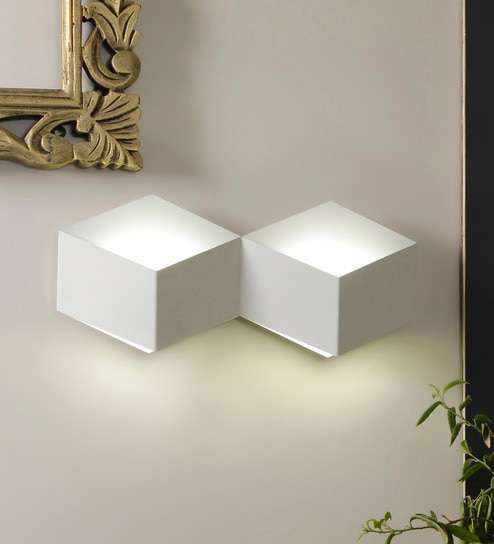 White Metal Fold Downward Wall Light by Jainsons Emporio
