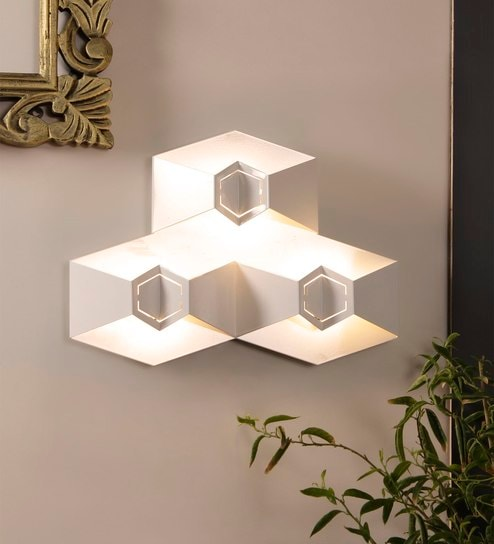 White Metal Fold Triple LED Wall Light by Jainsons Emporio
