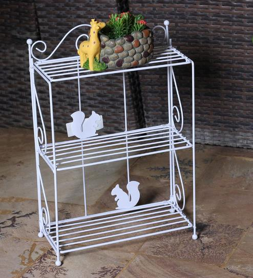 White Metal Striped Planter Stand By Tayhaa Online Stands Pots Planters Decor Pepperfry Product