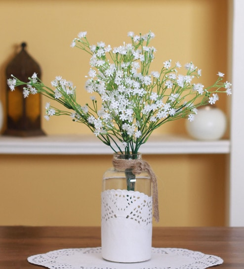 Buy White Plastic Artificial Gypso Flower By Fourwalls Set Of 3