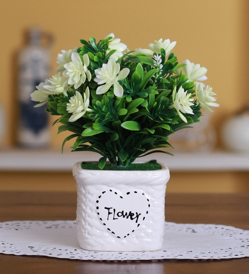 Buy White Polyester Artificial Lotus Flower In A Ceramic Vase By
