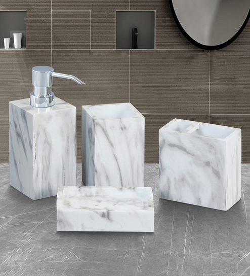 Bathroom Accessories.Buy White Polyresin Bathroom Accessories Set By Obsessions Online