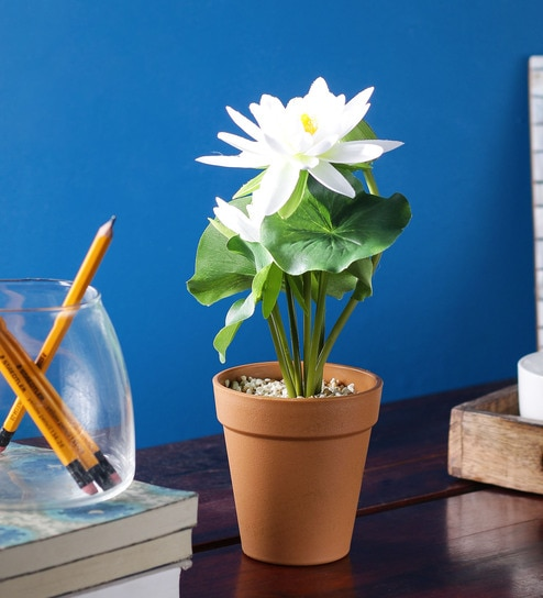 Buy white pp pvc artificial lotus flower with pot by wonderland white pp pvc artificial lotus flower with pot by wonderland mightylinksfo