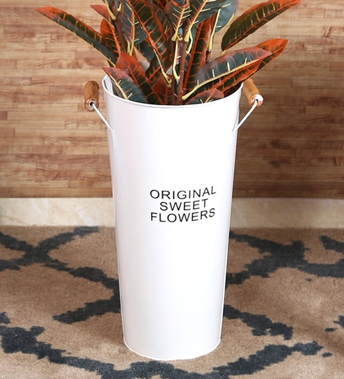 Pepperfry & White Rustic Metal French Bucket Style Tin Flower Vase by Fourwalls