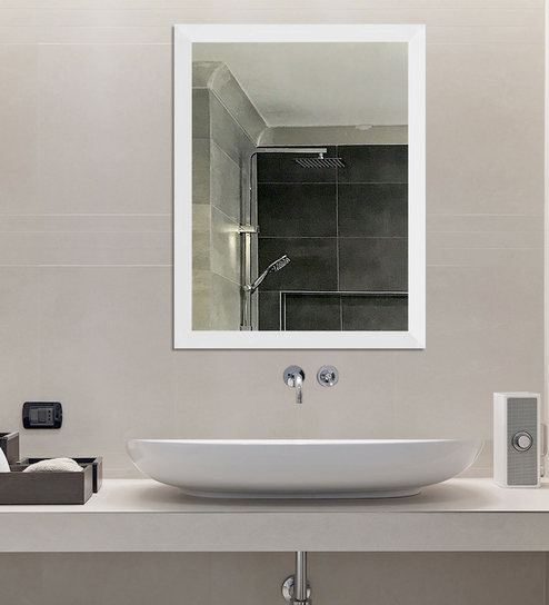 Synthetic Wood Bathroom Mirror In White