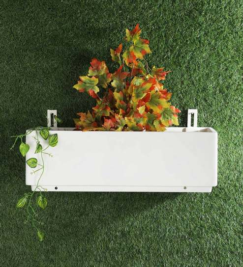 White Wall Hanging Box Tray Planter 24 X 7 By Yuccabe Italia Online Planters Pots Decor Pepperfry Product