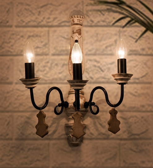 best website 2e3d6 3d20b White Wood Chic French Country 3 Light Wall Sconce by Fos Lighting