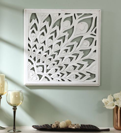 White Wood Carving Wall Mural By