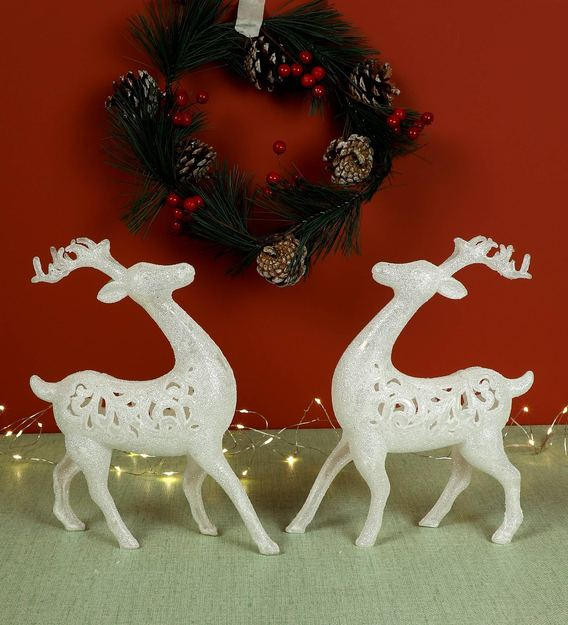 Buy White Acrylic Christmas Reindeer Decoration By Itiha Set Of 2 Online Christmas Decorations Spiritual Home Decor Pepperfry Product