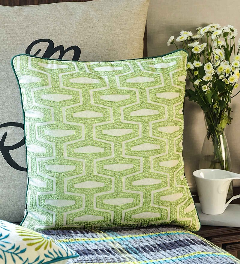 White & Grey Cotton 18 x 18 Inch Cushion Cover by Vista Home Fashion