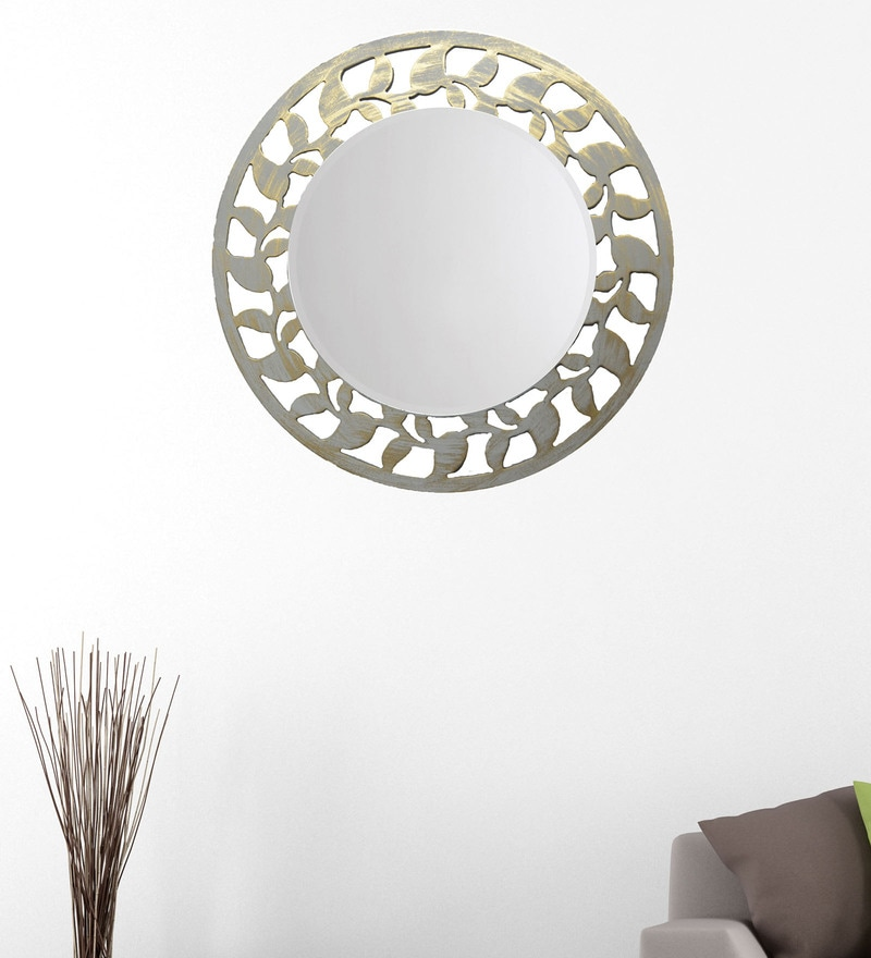 White And Gold 14.5 x 0.5 x 14.5 Inch Leaf Border Mirror by Height of Designs
