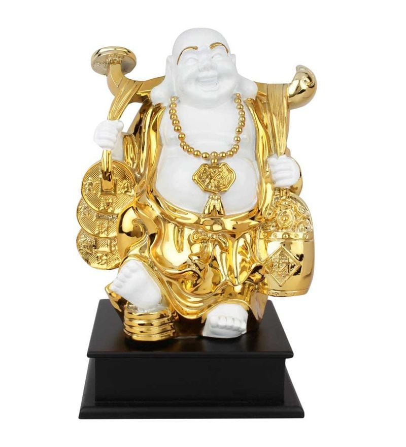 White and Gold Polystone Polystone Resin Feng Shui Vaastu Laughing Happy Buddha Decor Gift Statue Idol by Statue Studio