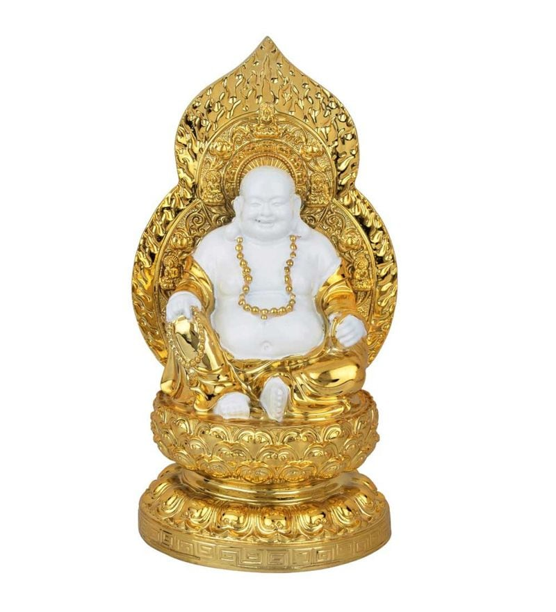 White and Gold Polystone Resin Leaf Gold Plated Laughing Buddha Feng Shui Vaastu Decor Gift Idol Statue by Statue Studio