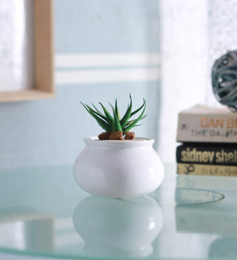 White Ceramic Glazed Matki Shape Planter by Decardo