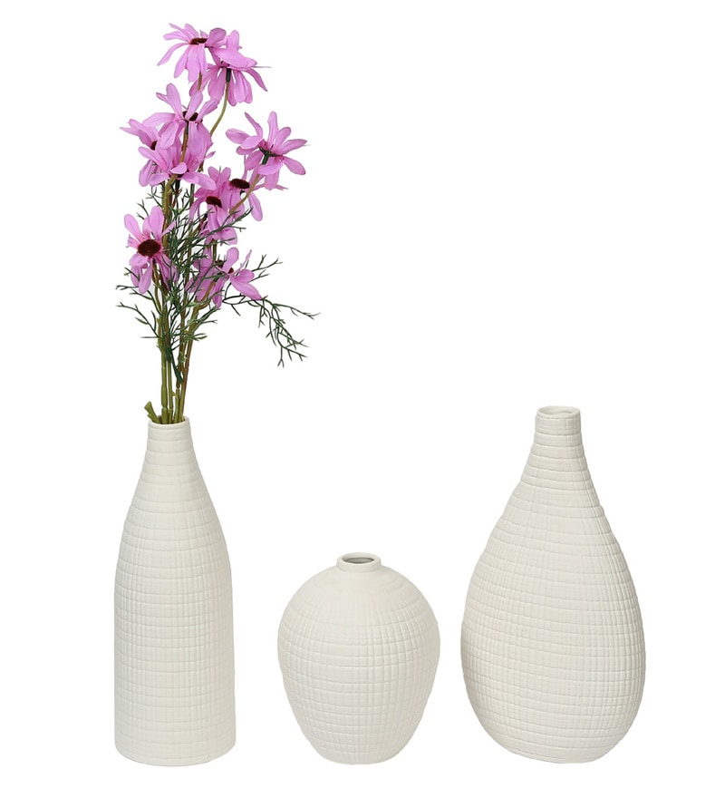 Click to Zoom In/Out  sc 1 st  Pepperfry & Buy White Ceramic Textured Flower Vase - Set Of 3 By Aapno Rajasthan ...