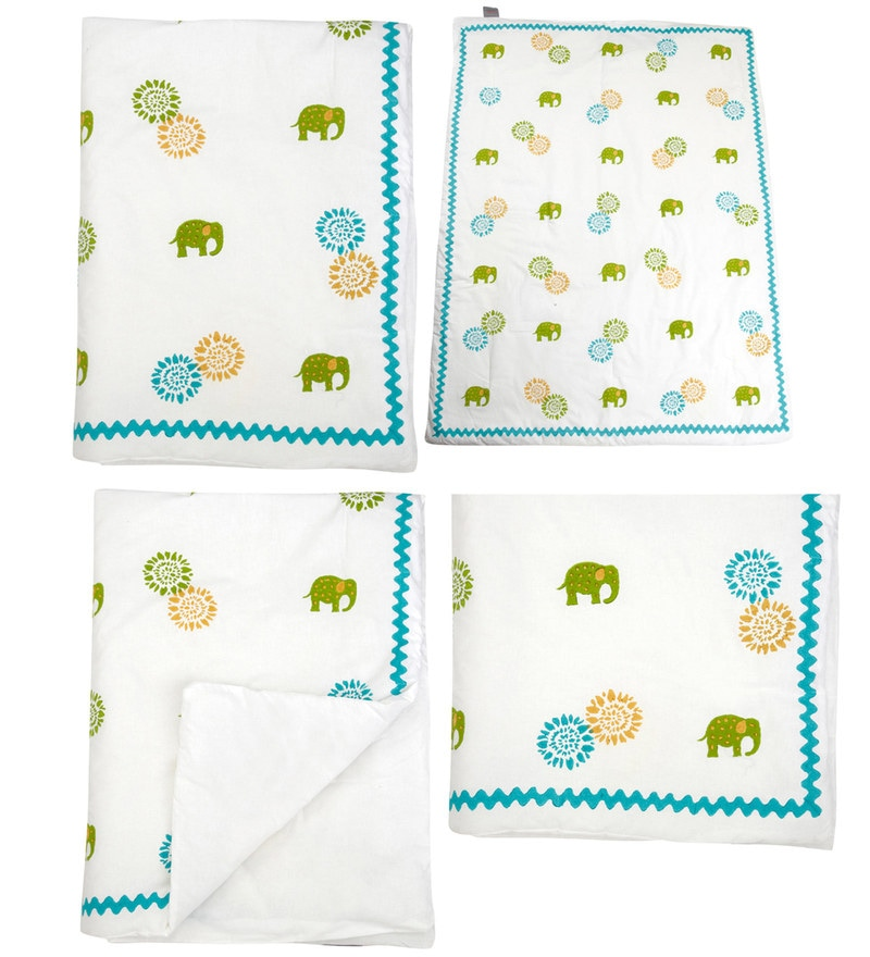 White Elephant and Flower Print Baby Quilt in White Colour by Cocobee