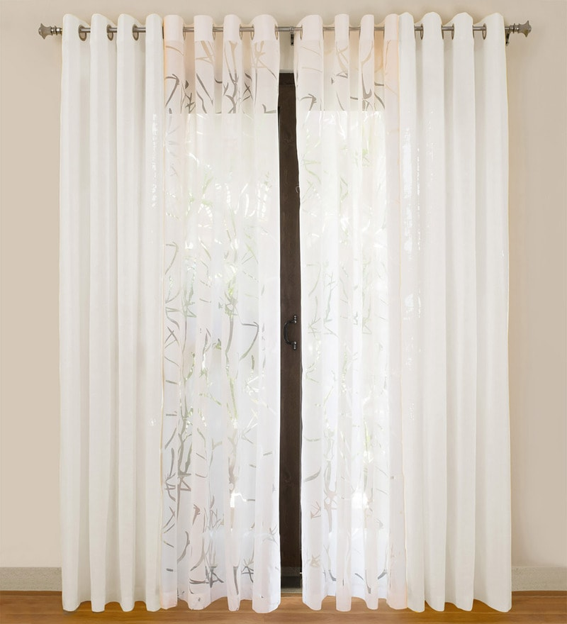 White Cotton 55x84 Inch Door Curtains - Set of 4 by Rosara