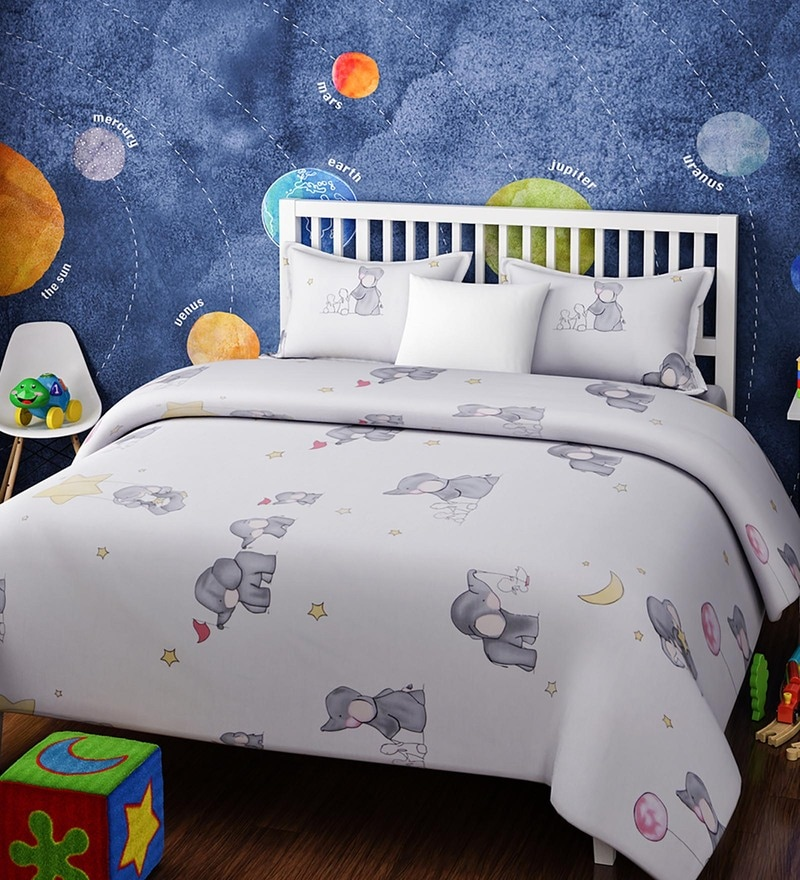 White Cotton Single Size Baby Elephant Kids Bedsheet - Set of 2 by Rago