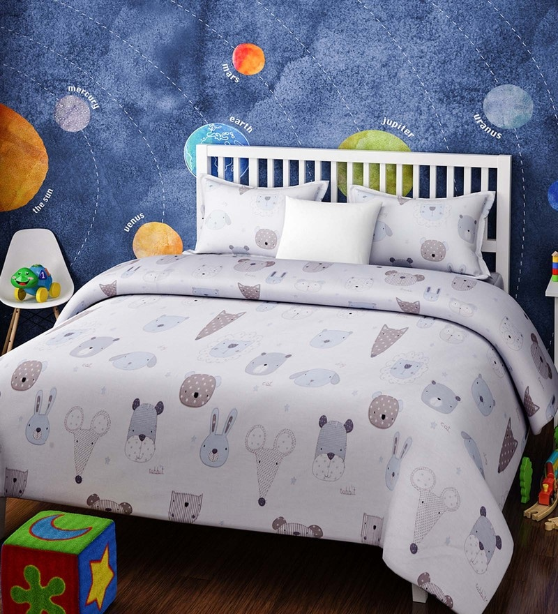 White Cotton Single Size Cute Animals Kids Bedsheet - Set of 2 by Rago