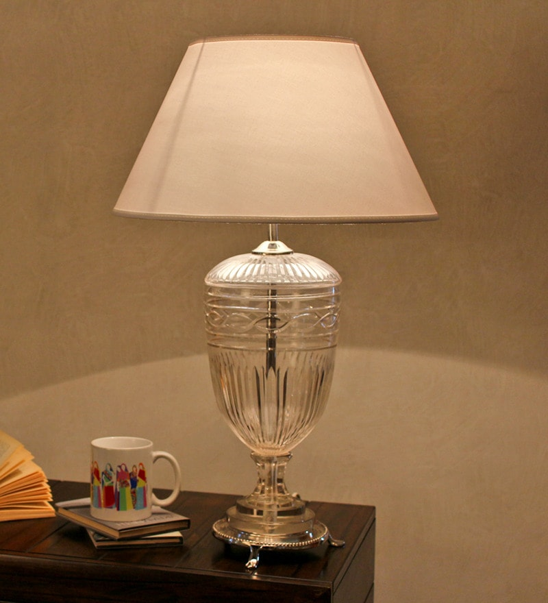 White Cotton Table Lamp by The Light Store