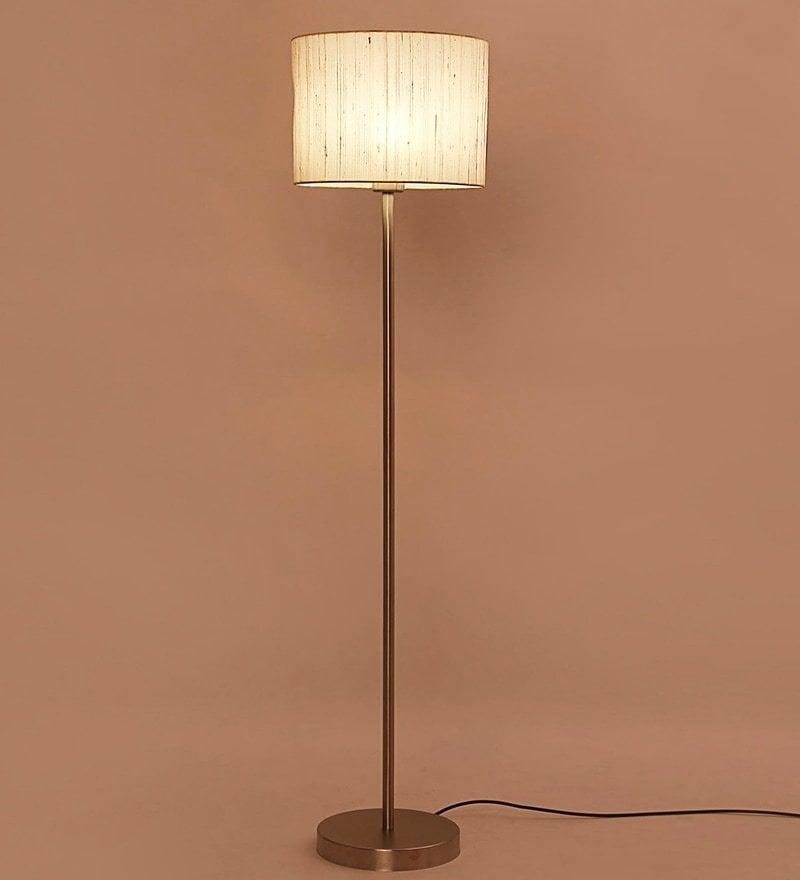 Buy White Iron & Raw Silk Fabric Floor Lamp by Lavish Online ...