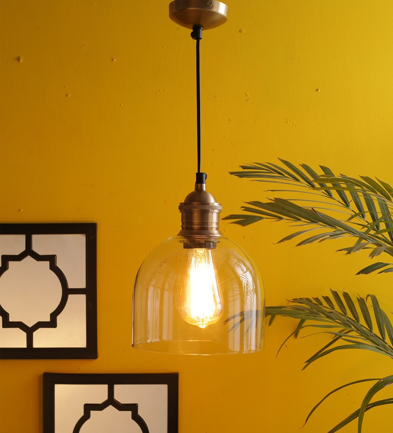 Hanging Light Pendant in Antique Brass Finish