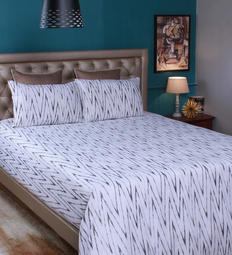 White Linen King Size Bedsheet - Set of 3 by Milano Home