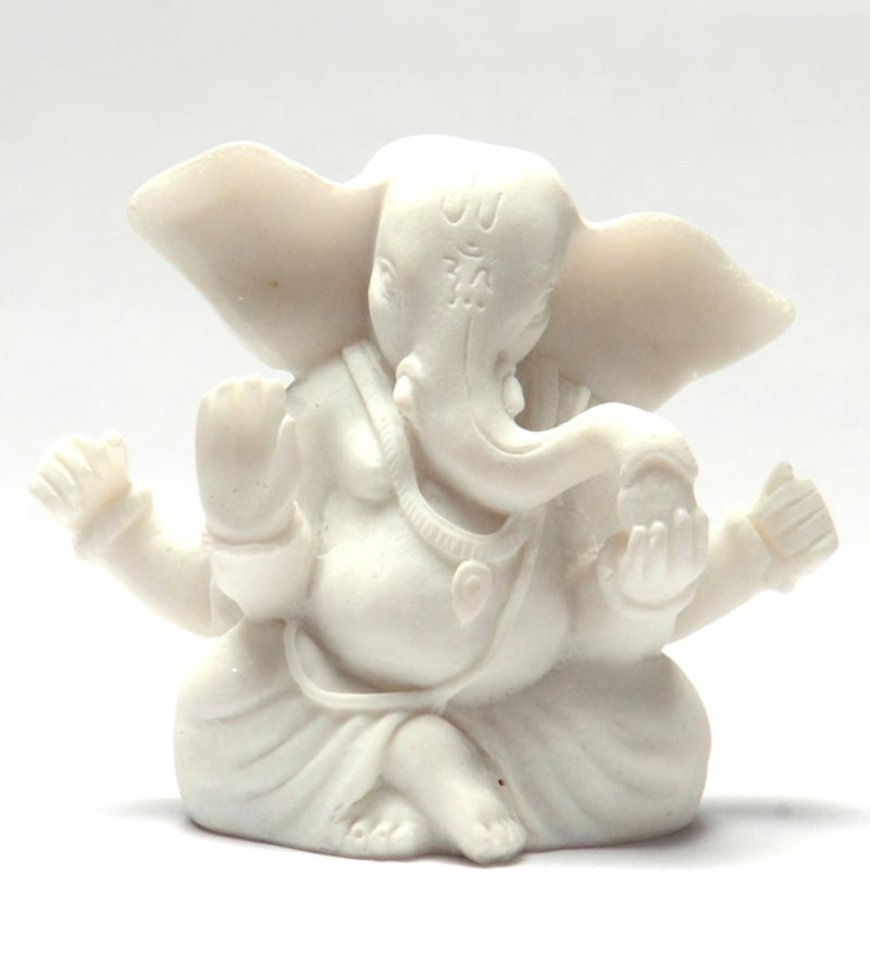 Buy White Marble Ganesh Idol By Celebration Online Ganesha